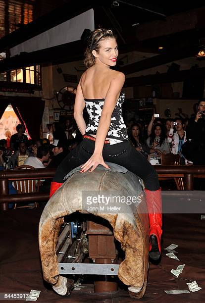 AnnaLynne McCord rides the bull at the Babes On The Bull Benefiting PLAY at the Saddle Ranch Chop House on January 25 2009 in Hollywood California