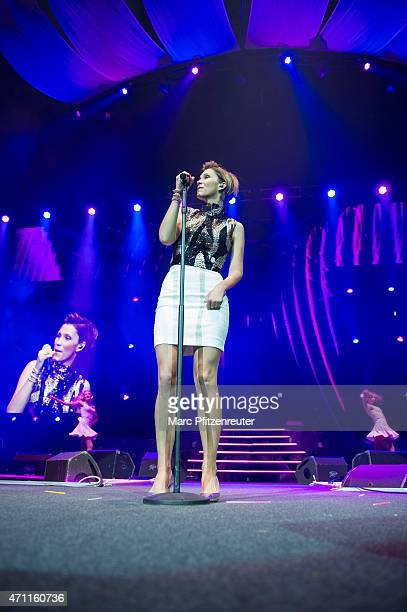 AnnaMaria Zimmermann performs on stage during the 'Schlagernacht des Jahres' at the Lanxess Arena on April 25 2015 in Cologne Germany