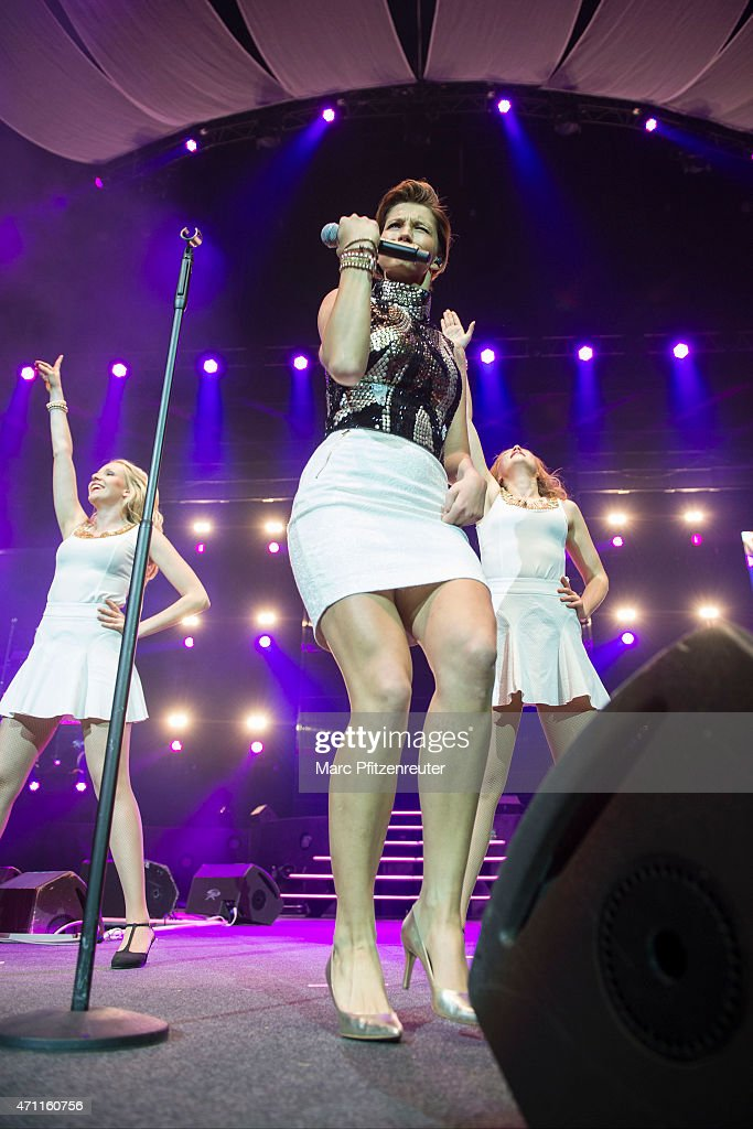 Anna-Maria Zimmermann performs on stage during the 'Schlagernacht des Jahres' at the Lanxess Arena on April 25, 2015 in Cologne, Germany.