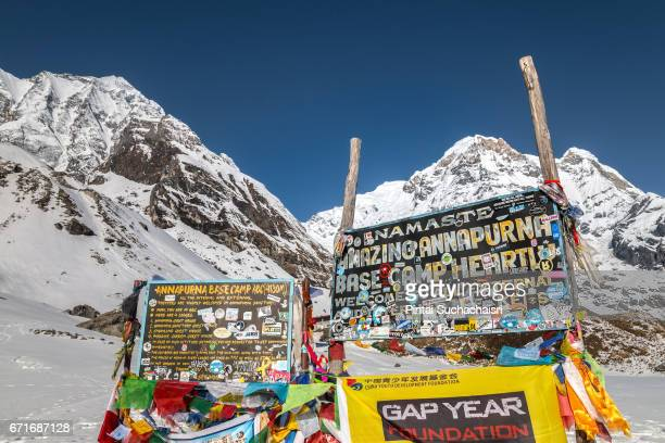 Annapurna Base Camp Sign Covered With Prayer Flags, Nepal