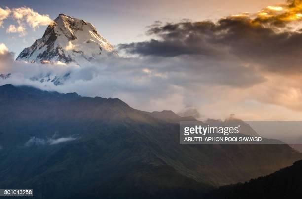 Annapurna south peak at sunrise time on poon hill , Himalaya , Nepal