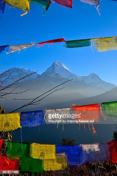 Annapurna South with Prayer Flag