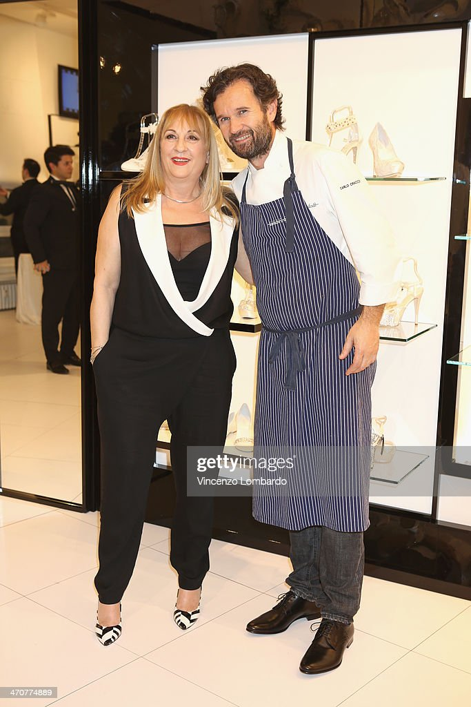 Annarita Pilotti and Carlo Cracco attend the Loriblu Cocktail Party as part of Milan Fashion Week Womenswear Autumn/Winter 2014 on February 20, 2014 in Milan, Italy.