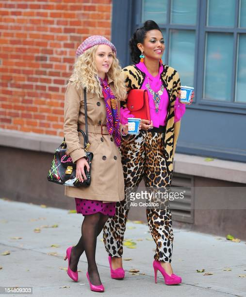 AnnaSophia Robb and Freema Agyeman are seen on the set of 'The Carrie Diaries' on the streets of Manhattan on October 26 2012 in New York City