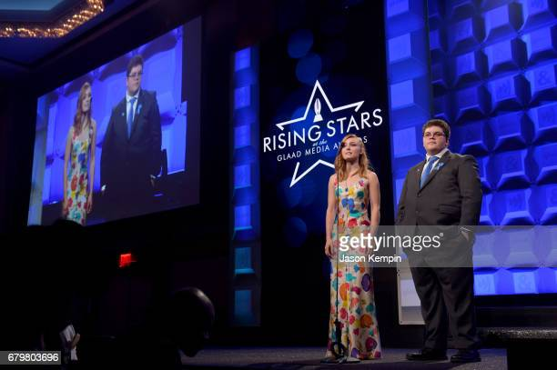 AnnaSophia Robb and Gavin Grimm speak on stage at the 28th Annual GLAAD Media Awards at The Hilton Midtown on May 6 2017 in New York City