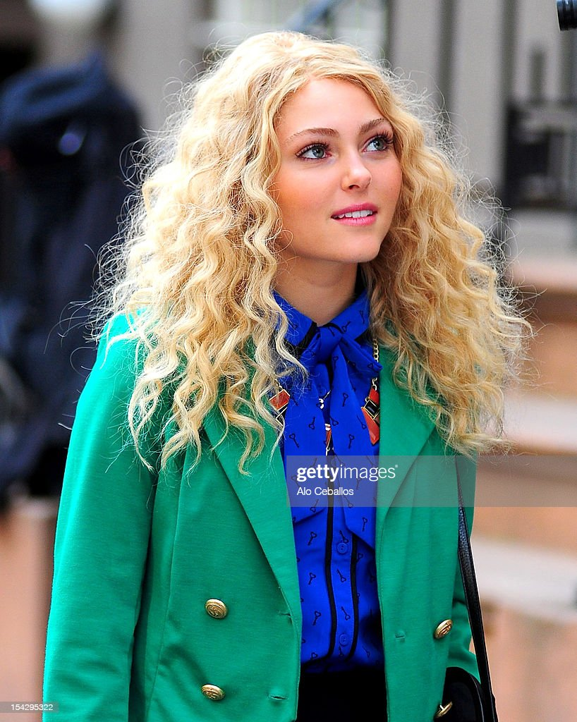 AnnaSophia Robb is seen on the set of 'The Carrie Diaries' on the streets of Manhattan on October 17, 2012 in New York City.