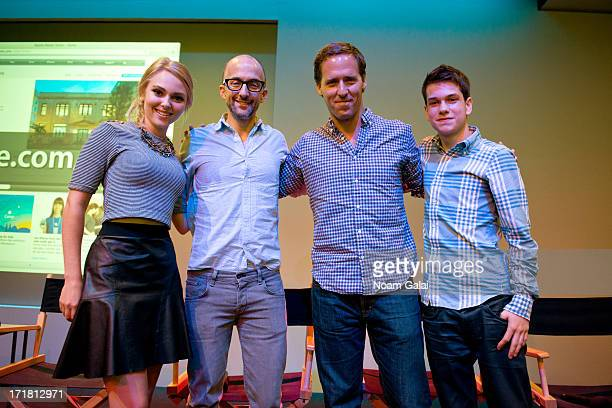 AnnaSophia Robb Jim Rash Nat Faxon and Liam James attend Meet The Filmmakers of 'The Way Way Back' at Apple Store Soho on June 28 2013 in New York...