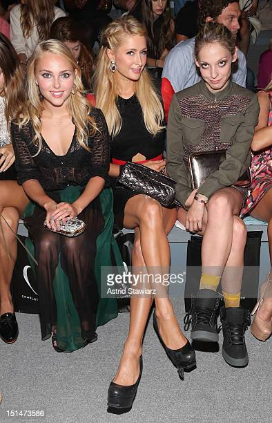 AnnaSophia Robb Paris Hilton Corey Kennedy attend the Charlotte Ronson SS13 Show at The Stage at Lincoln Center on September 7 2012 in New York City