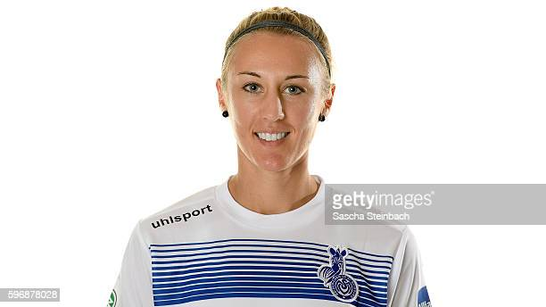 AnnaSophie Fliege of MSV Duisburg poses during the Allianz Women's Bundesliga Club Tour on August 24 2016 in Duisburg Germany
