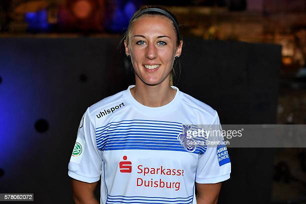 AnnaSophie Fliege poses during the MSV Duisburg women's team presentation at Landschaftspark Nord on July 20 2016 in Duisburg Germany