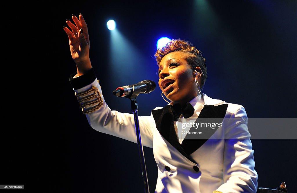 Annastasia Baker performs on stage at the O2 Shepherd's Bush Empire on November 15 2015 in London England
