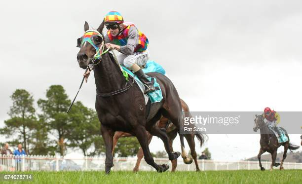 Annata Lady ridden by Harry Coffey wins the Tony Laidlaw Butch Power Maiden Plate at Ararat Racecourse on April 29 2017 in Ararat Australia