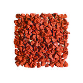 Cut out of Annatto seeds, a spice mainly used to color food.