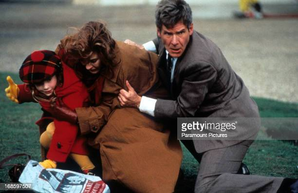Anne Archer is thrown to the ground by Harrison Ford in a scene from the film 'Patriot Games' 1992