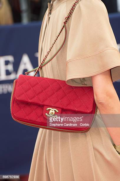 Anne Berest handbag detail attends the Opening Ceremony of the 42nd Deauville American Film Festival on September 2 2016 in Deauville France