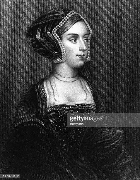 Anne Boleyn second Queen of Henry VIII Head and shoulders portrait engraving Ryall Holbein