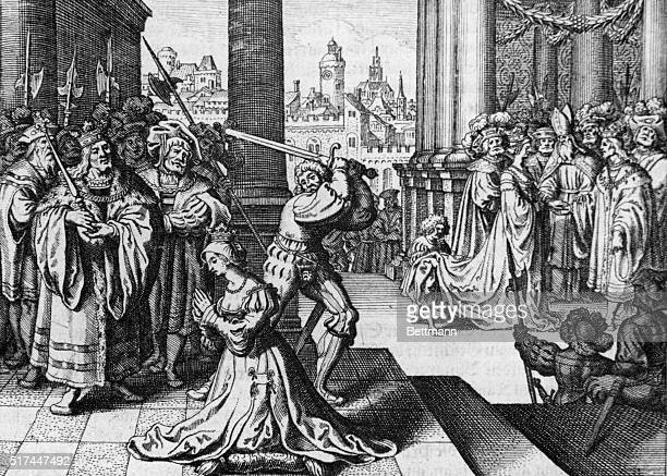Anne Boleyn's execution may 15 1536 Copper engraving