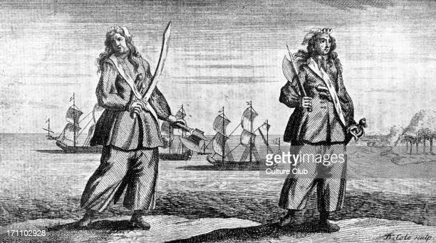 'Anne Bonny and Mary Read the female pirates' engraved by B Cole AB Irish American pirate active in the Caribbean born in the late 1690s and is said...