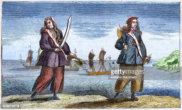 Anne Bonny and Mary Read the female pirates engraving