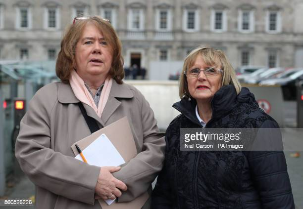 Anne Cadwallader of the Pat Finucane Centre and Margaret Urwin of Justice for the Forgotten arrive at Leinster House in Dublin for The Joint...