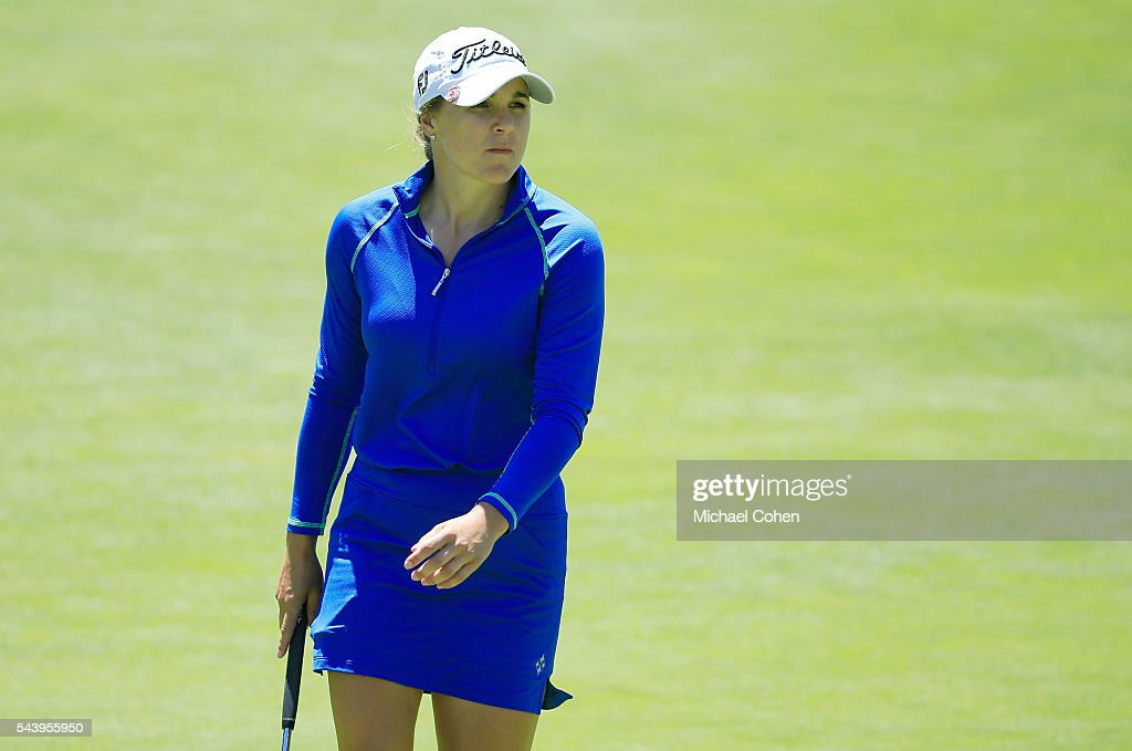 Anne Catherine Tanguay of Canada looks on during the first round of the Cambia Portland Classic held at Columbia Edgewater Country Club on June 30, 2016 in Portland, Oregon.