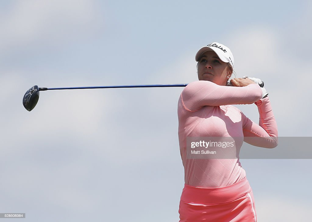 Anne Catherine Tanguay of Canada watches her tee shot on the ninth hole during the Yokohama Tire Classic on May 05, 2016 in Prattville, Alabama.