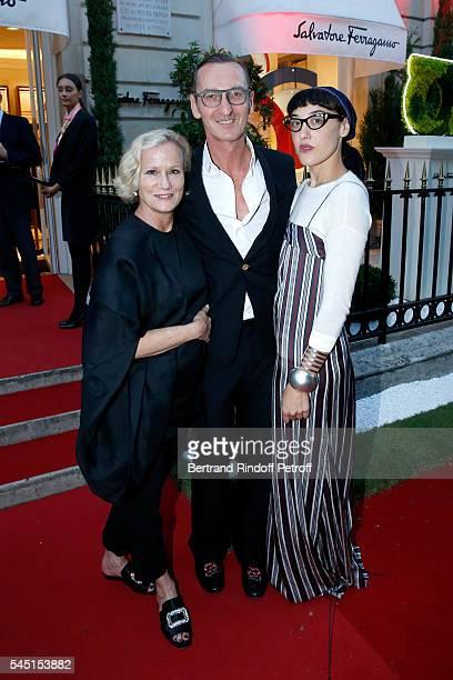 Anne Crawford Bruno Frisoni and Mia Moretti attend the Re Opening of Salvatore Ferragamo Boutique at Avenue Montaigne on July 5 2016 in Paris France