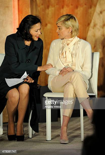 Anne Curry and actress Sharon Stone attend The Lourdes Foundation 'Leadership in the 21st Century' Event with His Holiness the 14th Dalai Lama at the...