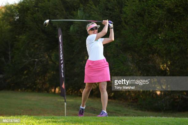 Anne Curwen of Nene Park Golf Club plays his first shot on the 1st tee during The WPGA Lombard Trophy Final Day One on September 21 2017 in Albufeira...