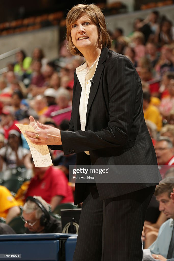Anne Donovan head coach of the Connecticut Sun reacts to a call as the Sun took on the Indiana Fever on June 12 2013 at Bankers Life Fieldhouse in...