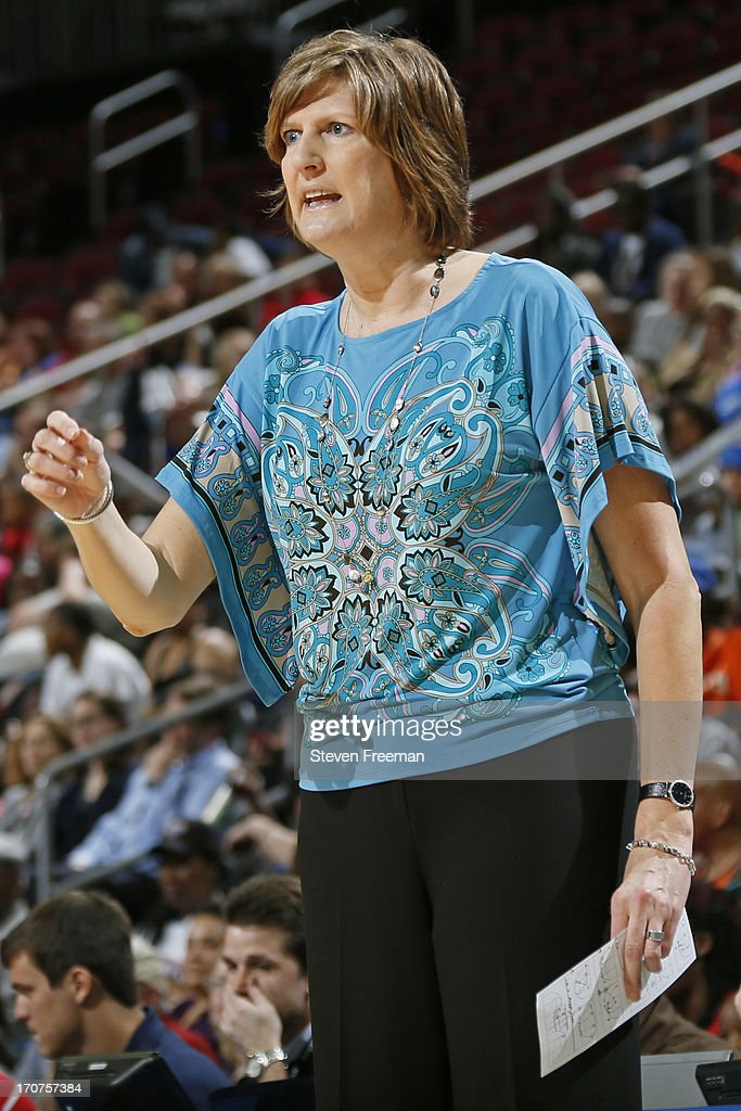 Anne Donovan head coach of the Connecticut Sun yells from the bench during the game against the New York Liberty on June 14 at the Prudential Center...