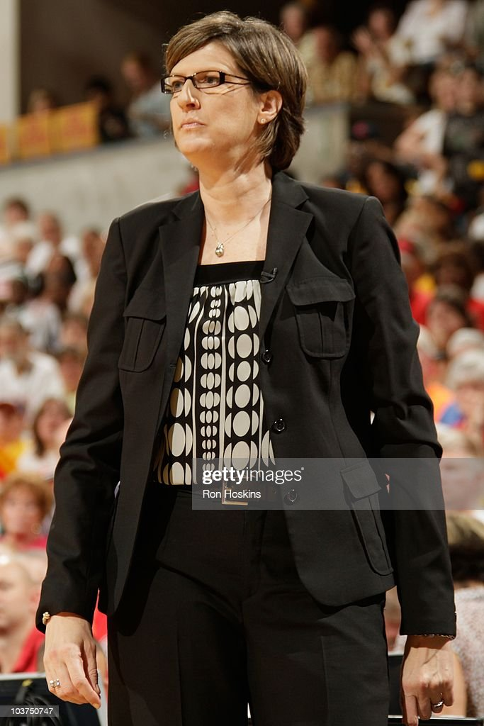 Anne Donovan head coach of the New Liberty looks on as her team takes on the Indiana Fever in Game Two of the Eastern Conference Semifinals during...
