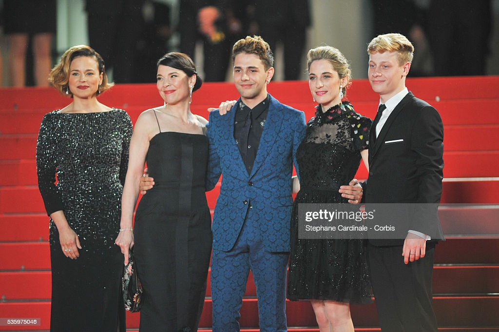 Anne Dorval, Xavier Dolan, Suzanne Clement, Nancy Grant and Olivier Pilon attend the 'Mommy' premiere during the 67th Cannes Film Festival