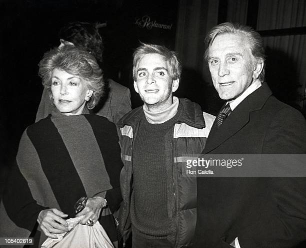 Anne Douglas Eric Douglas and Kirk Douglas during Celebrity Sightings at Regency Hotel February 17 1984 at Regency Hotel in New York City New York...