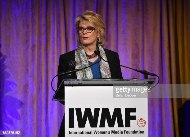 Anne Finucane speaks onstage at The International Women's Media Foundation's 28th Annual Courage In Journalism Awards Ceremony at Cipriani 42nd...