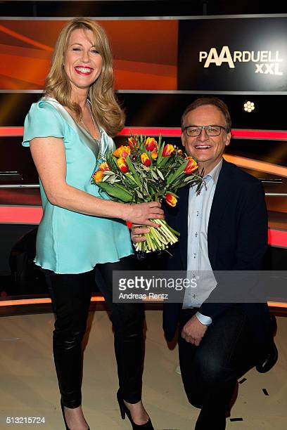 Anne Gesthuysen and Frank Plasberg attend 'Paarduell XXL' photo call on March 1 2016 in Huerth Germany
