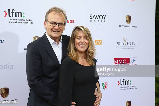 Anne Gesthuysen and her husband Frank Plasberg attend the party after the semifinal round of judging for the 43rd International Emmy Awards at...