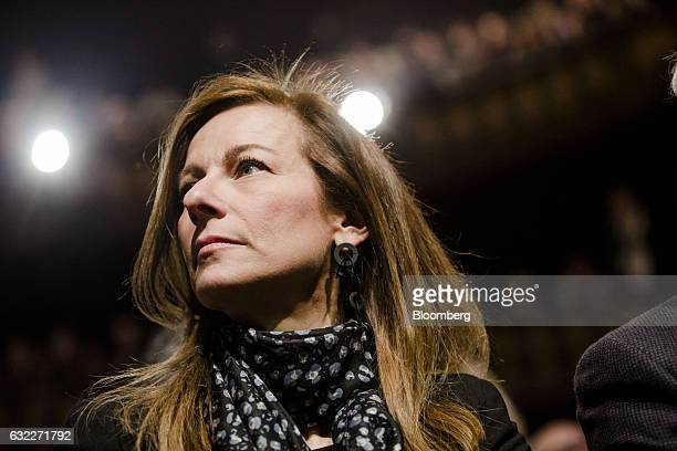 Anne Gravoin wife of France's former prime minister and Socialist Party presidential candidate Manuel Valls listens during a campaign event in Paris...