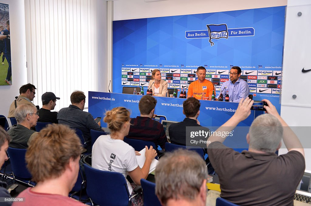 Anne Grubert, coach Pal Dardai and CEO Michael Preetz of Hertha BSC during the press conference on june 29, 2016 in Berlin, Germany.