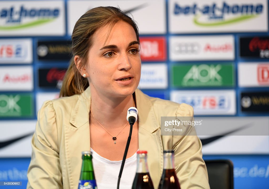 Anne Grubert of Hertha BSC during the press conference on june 29, 2016 in Berlin, Germany.