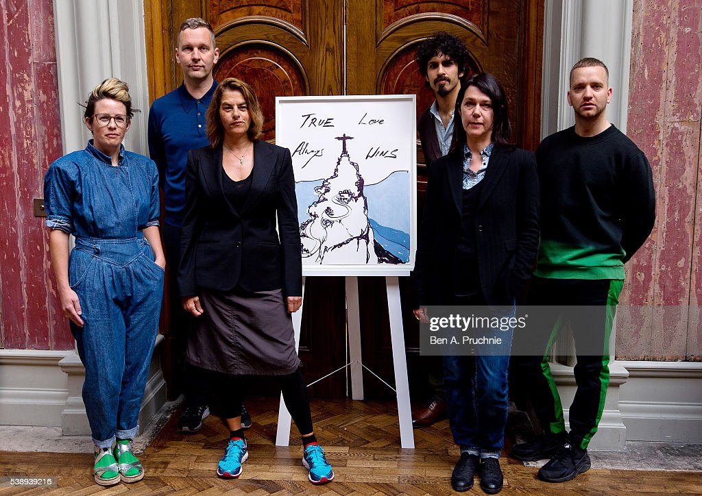 Anne Hardy, <a gi-track='captionPersonalityLinkClicked' href=/galleries/search?phrase=David+Shrigley&family=editorial&specificpeople=8829308 ng-click='$event.stopPropagation()'>David Shrigley</a>, <a gi-track='captionPersonalityLinkClicked' href=/galleries/search?phrase=Tracey+Emin&family=editorial&specificpeople=203219 ng-click='$event.stopPropagation()'>Tracey Emin</a>, Benjamin Senior, Sarah Jones and Eddie Peake poses next to the piece 'True Love Always Wins' by <a gi-track='captionPersonalityLinkClicked' href=/galleries/search?phrase=Tracey+Emin&family=editorial&specificpeople=203219 ng-click='$event.stopPropagation()'>Tracey Emin</a> as the launch of a set of official fine art prints to celebrate Team GB's participation in the 2016 Rio Olympic Games at Royal Academy of Arts on June 9, 2016 in London, England.
