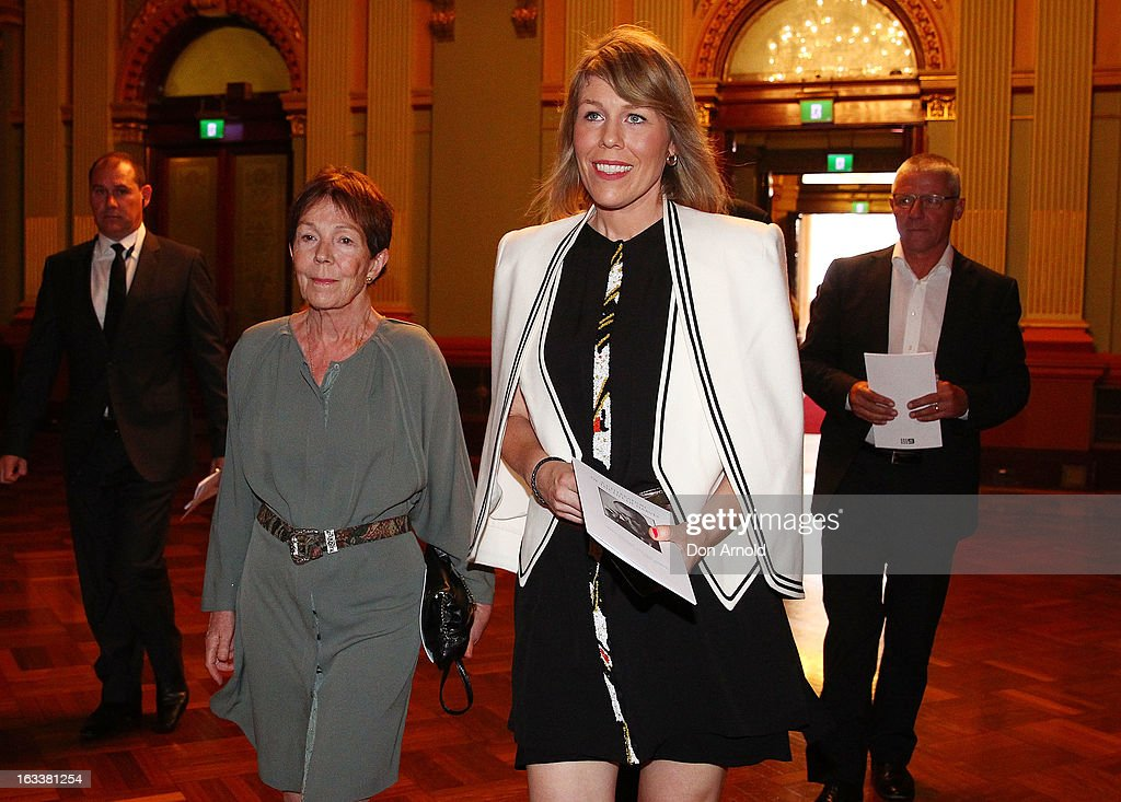 Anne Harvey and Claire Harvey arrive for the public memorial for Peter Harvey at Sydney Town Hall on March 9, 2013 in Sydney, Australia. Television journalist Peter Harvey, died in Sydney on March 2 aged 68 after a battle with pancreatic cancer.
