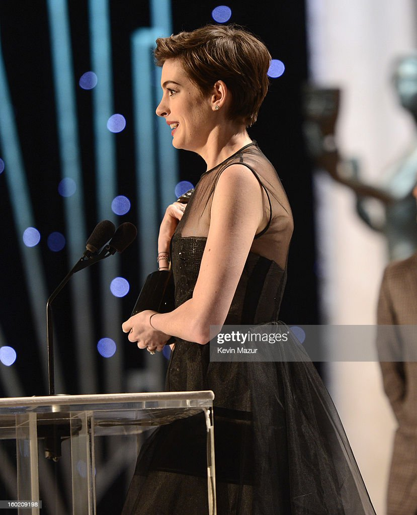 Anne Hathaway accepts award at the 19th Annual Screen Actors Guild Awards at The Shrine Auditorium on January 27, 2013 in Los Angeles, California. (Photo by Kevin Mazur/WireImage) 23116_016_1460.jpg
