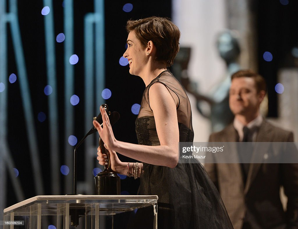 Anne Hathaway accepts award at the 19th Annual Screen Actors Guild Awards at The Shrine Auditorium on January 27, 2013 in Los Angeles, California. (Photo by Kevin Mazur/WireImage) 23116_016_1475.jpg