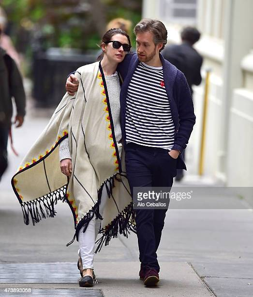 Anne Hathaway Adam Shulman are seen in the West Village on May 18 2015 in New York City