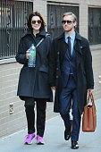 Anne Hathaway and Adam Shulman are seen in New York City on April 24 2015 in New York City