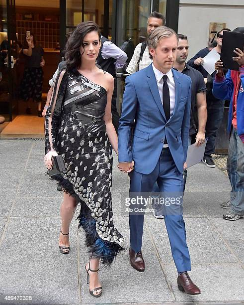 Anne Hathaway and Adam Shulman are seen in Soho on September 21 2015 in New York City