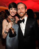 Anne Hathaway and Adam Shulman attend the 2013 Vanity Fair Oscar Party hosted by Graydon Carter at Sunset Tower on February 24 2013 in West Hollywood...