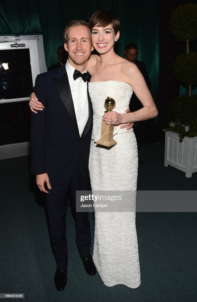 Anne Hathaway and Adam Shulman attend the NBCUniversal Golden Globes viewing and after party held at The Beverly Hilton Hotel on January 13, 2013 in Beverly Hills, California.
