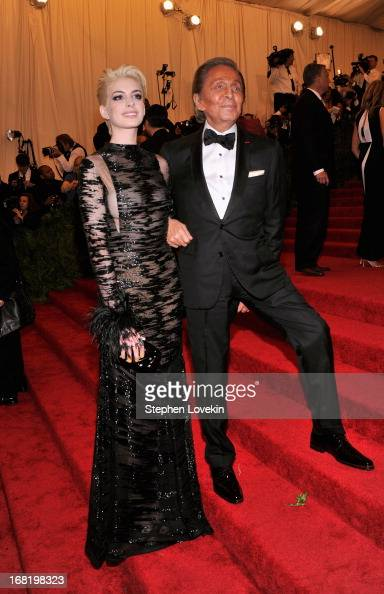 Anne Hathaway and designer Valentino Garavani attend the Costume Institute Gala for the 'PUNK Chaos to Couture' exhibition at the Metropolitan Museum...